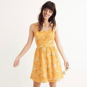 Madewell Silk Fleur Bow-Back Dress yellow floral